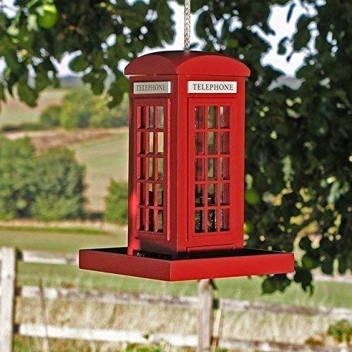 Garden Mile Rouge téléphone BOITE jardin oiseau mangeoires, Iconic modèle oiseau mangeoire Station bois suspendu oiseau mangeoires pour petits oiseaux. Nouveauté téléphone BOITE graines mangeoire