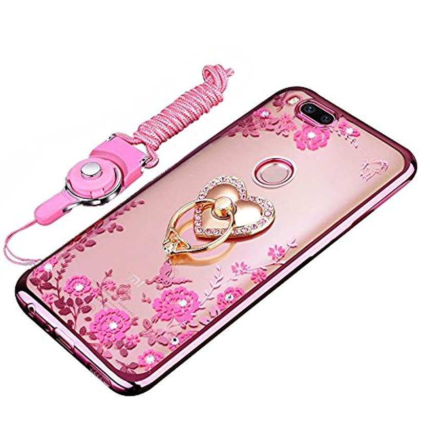 Xiaomi Mi A1/Mi 5X Case, BestAlice Slim Fit Soft Gel Clear Bling Kickstand Case Rose Gold Metal Plating Bumper Cover & Lanyard Neck Strap Cord, Heart Ring Stand