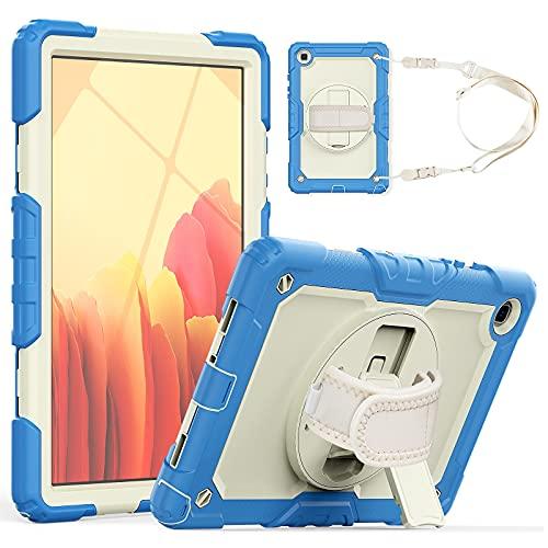 Funda para tablet Samsung Galaxy Tab A7 10.4' T500/T505 2020 de tres capas a prueba de golpes, con soporte giratorio, correa de hombro PC+silicona multifunción protectora Cov