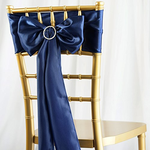BalsaCircle 50 Navy Blue Satin Chair Sashes Bows Ties for Wedding Party Ceremony Reception Event Decorations Supplies Cheap