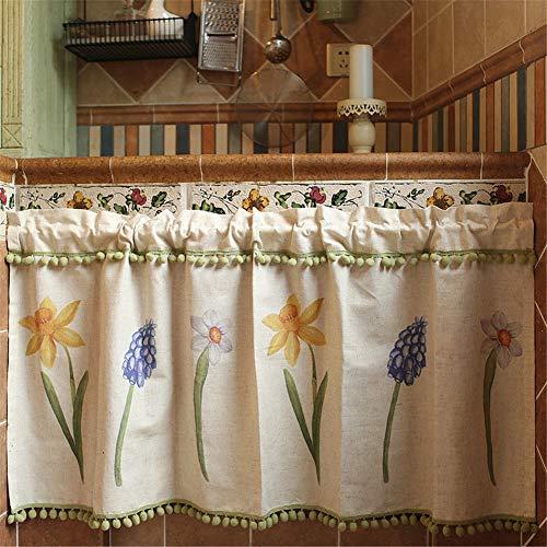 Blackout Half Vorhang, American Country Baumwolle und Leinen kurzen Vorhang Staub Coffee Shop Küchenschrank Tür Waschbecken halbe Vorhänge, 1pcs
