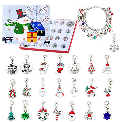 Uniono Xmas Countdown Advent Calendar Christmas Blind Box Girl's Gift DIY Charm Bracelet Making Kit, Jewelry Gift Set Including 22 Charms Beads, 1 Bracelets, 1 Necklaces (A)