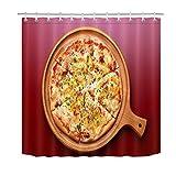 ZZZdz Lebensmitteldekoration. Leckere Pizza. Duschvorhang. Hintergr&. Abmessungen: 180X180 cm. 12 Haken. 3D Hd Druck. Wasserdicht. Einfach Zu Säubern. Haus Dekoration.