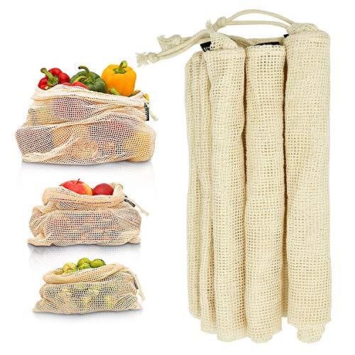 cococity 3er Set Einkaufstasche Gemüsebeutel Umweltfreundliche Netztasche Aufbewahrungstasche Wiederverwendbare Gemüsebeutel Natürliche Baumwolle Biologisch abbaubar (S M L)