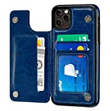S-Tech Case for 12 Pro Max (6.7 inch) Wallet Case with Card Holder Leather Kickstand Card Slots Case, Double Magnetic Clasp and Durable Shockproof Cover for iPhone 12 Promax (Blue)
