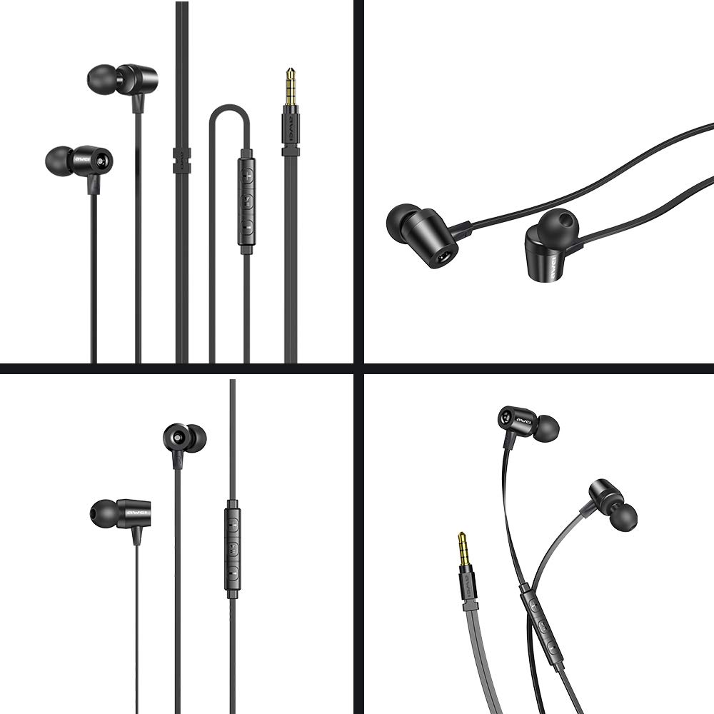 AWEI In Ear Earbuds Noise Cancelling Headphones Gold Plated Plug Wired Earphones With Microphone Volume Control Remote For MP3 Cell Phones Tablets Laptops PC
