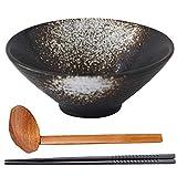 LXZSP Juego de tazones de Sopa de Ramen para Cocina y Comedor, tazón de cerámica japonés para Servir con Cuchara y Palillos a Juego, tazones de Ramen, para Sopa, Fideos, Pho, Udon y Soba
