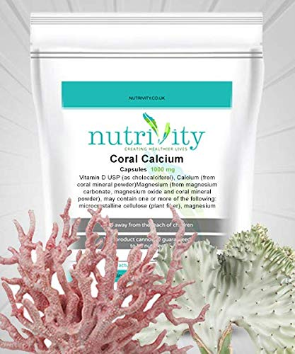 Sterke Botten Koraal Calcium 1000mg Veg Capsules met Magnesium door Nutrivity (30)