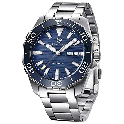 BERSIGAR BG-1617 Relojes automáticos de los Mejores Hombres - Reloj de Negocios Informal con Esfera Azul Impermeable para Hombres de Acero Inoxidable