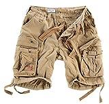 Surplus Hombres Airborne Vintage Pantalones Cortos Lavado Beige tamaño S