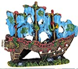 JONJUMP Acuario Ornamento pecera paisaje naufragio buque gran naufragio decoración para peces tanque accesorios