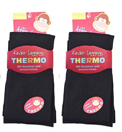 2 Stück Kinder Thermo Leggings 9-025/1 (122/128, 2x schwarz) thermoleggings rote kinder-leggings thermo-leggings mädchen thermoleggings kinder kinder-leggings legging kinder jungen
