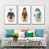 Tableau décoratif Animal tête Peinture décorative Salon de Chien de Dessin animé Peinture sur Toile Salon Affiches 3 pièces (40x60cm No Frame)