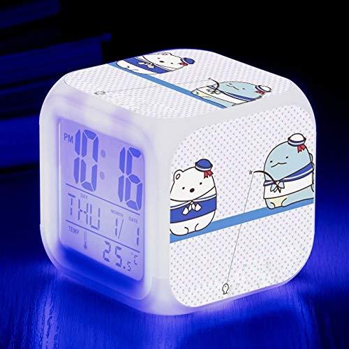 fdgdfgd Criatura de Dibujos Animados Lindo Elegante Reloj Digital LED Multifuncional para niños con termómetro Reloj Despertador con Fecha