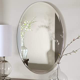 Quality Glass Frameless Decorative Oval Mirror   Mirror Glass for Wall   Mirror for bathrooms   Mirror in Home   Mirror Decor   Mirror Size : 18 X 24 inch