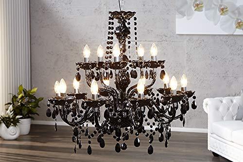 15-flammiger Design Kronleuchter BLACK CRYSTAL schwarz 15-armig Lüster Lampen Hängeleuchte Deckenlampe - 2