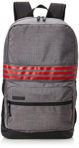 adidas 2017 Lightweight 3-Stripes Rucksack Medium Travel Backpack Mens Gym/Laptop Bag Dark Grey/Scarlett