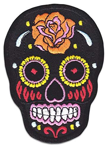 Mexiko Totenkopf Aufnäher Aufbügler Patch Sugarskull Totenkopf Rockabilly Greaser Latino Bügelbild