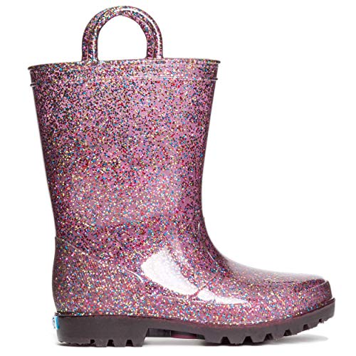 ZOOGS Kids Glitter Rain Boots for Girls and Toddlers, Multi Glitter, 6 Toddler