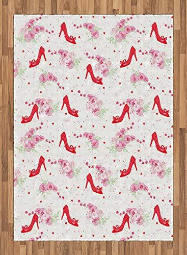 ABAKUHAUS Modern Tapijt, Fashion Hoge hakken Flowers, vlak Geweven Vloerkleed voor Woonkamer, Slaapkamer, Eetkamer, 160 x 230 cm, rood Wit
