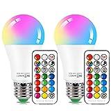 LED電球 昼白色 E26口金 調光 調色可能 リモコン操作 长寿命 85W相当 E27口金 広配光タイプ 省エネ 記憶機能 タイミング機能 2個セット(リモコン付き)