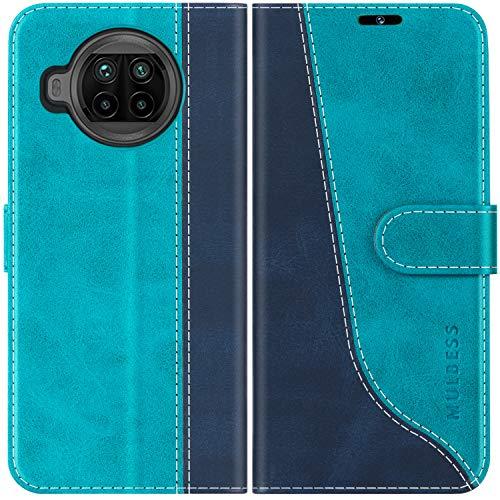 Mulbess Handyhülle für Xiaomi Mi 10T Lite Hülle, Xiaomi Mi 10T Lite Hülle Leder, Etui Flip Handytasche Schutzhülle für Xiaomi Mi 10T Lite 5G Hülle, Mint Blau
