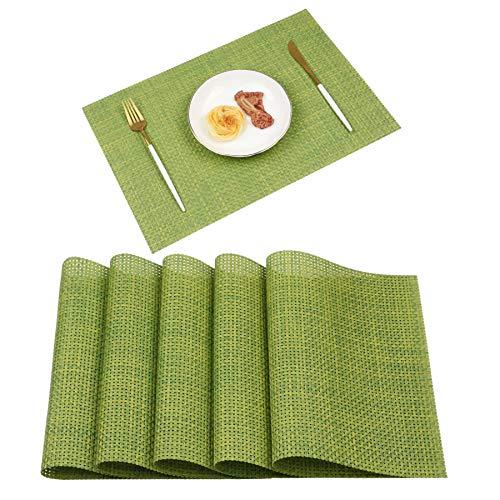 Homcomodar Platzsets 6er Set Abwaschbar Platzdeckchen PVC Vinyl rutschfest Hitzebeständig Tischsets 30x45 cm