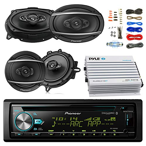 "Pioneer DEH-S6000BS Car Bluetooth Radio USB AUX CD Player Receiver - Bundle with 2X TSA1670F 6.5"" 3-Way Car Audio Speakers - 2X 6.5-6.75"" 4-Way Stereo Speaker + 4-Channel Amplifier + Amp Kit"