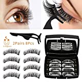 Allnice Magnetic Eyelashes Dual Magnets False Eyelashes Reusable 3D No Glue 3 Fake Lashes Extension with Tweezers for Women Makeup Natural Look 8 Pieces / 2 Pairs