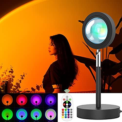 Luz LED de Proyección del Atardecer,Color ajustable RGB Lámpara de Proyección Sunset,180° Giratorio Proyector Romántico,Lámpara de Pie Modernas LED para Salón, Dormitorio, Oficina