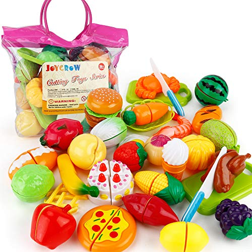 JoyGrow 32PCS Küchenspielzeug Kinder Schneide Lebensmittel Spielzeug Plastik Obst Gemüse Cutting Toy Kinder Rollenspiele Spielzeug (Rosa)