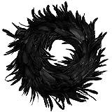"JOYIN Natural Feathers Wreath 13.75"" in Black for Halloween Decorations, Spooky Scene Party Favors, Halloween Photo Props, Trick of Treat, Front Door"