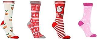 4 pares de calcetines de Navidad 4 – 8 UK/37 – 42 eur Pudín de Navidad, copos de nieve, árboles, Papá Noel, rosa