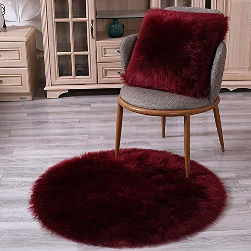 Badmat antislipmatten badmat tapijt effen pluche tapijt stoel kussen antislip ronde rode wijn ronde pad (kleur: rode wijngrootte: 120cm) 50cm rode wijn