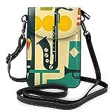 Cartera de piel sintética suave para mujer, estilo jazz, música, guitarra, saxo, bolso pequeño de hombro para viajes, compras, trabajo