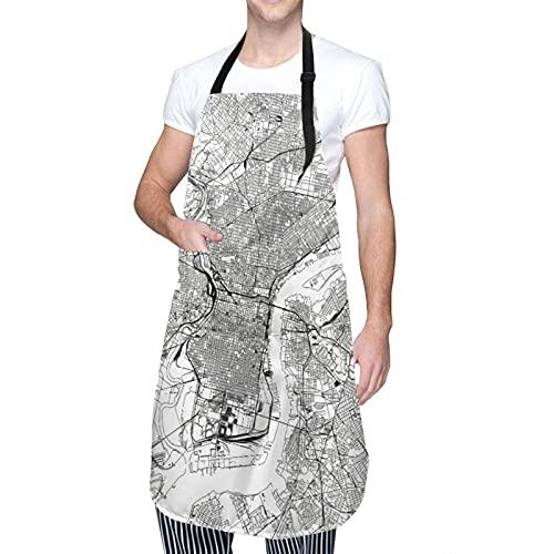 Delantal impermeable ajustable para colgar en el cuello, diseño de impresión de póster con cita motivacional, vestido de cocina para hombres y mujeres con 2 bolsillos centrales