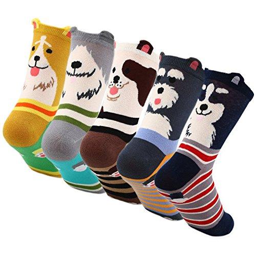 Lot de 5 paires de chaussettes de Noël LJ Sport - Motifs animaux, caricatures et Noël - Comme cadeau pour Noël ou un anniversaire - Pour femme et homme, Femme, Mehrfarbig 6120, EU 34-40