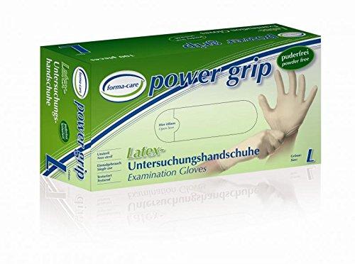 Preisvergleich Produktbild 10 Boxen Forma-Care Power Grip Gr. L 14040 Latex Untersuchungshandschuhe / 1000 Stück