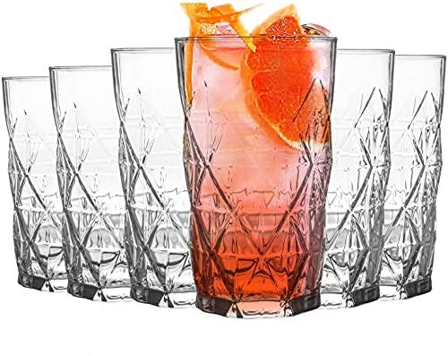 UNISHOP Set de 6 Vasos de Agua y Bebidas Alcohólicas, Vasos de Cristal Transparentes Lisos, Aptos para Lavavajillas (460ml)