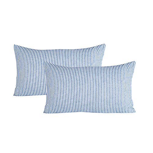 JES&MEDIS Set of 2 Pillowcase Cotton Striped Home Decorative Rectangular Throw Pillow Covers Cushion Case for Bed Car Office Lumbar 12 x 20 Inches 50 x 30 cm Blue and White