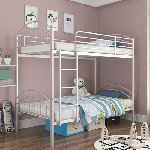 mecor Metal Twin Over Twin Bunk Bed/Convertible Into 2 Individual Bed for Boys, Girls, Kids, Teens/Removable Ladder & Safety Guard Rail - White