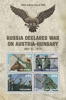 2014 100th Anniversary of World War I, Russia Declares War on Austria-Hungary, Collectible Sheet of 4 Stamps, Mint Never H...