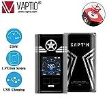 Vaptio CAPT'N mod Cigarettes électroniques mod 220W Sans nicotine et sans tabac (noir)