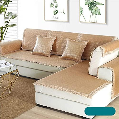 YXZN Funda de sofá de bambú de ratán, Funda Plegable de Verano, Estera de Aire Acondicionado, Funda Antideslizante de Encaje para sofá de Hielo