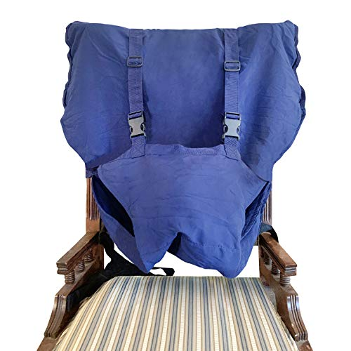 Booster Seat for Dining Room Table and a Handy Portable High Chair Safety Washable Cloth Harness Travel High Chair for Infant Toddler Feeding with Adjustable Straps Ê(Blue)
