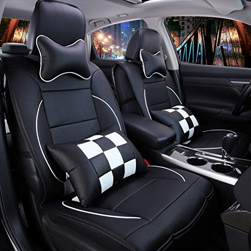 Sunluway 15 PCS Universal Leather Car Seat Cushion Cover Front and Rear Full Set Seat Pad Protector...