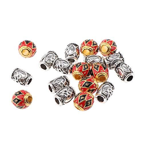 Fenteer 18x Dreadlock Perles Anneaux Pour Cheveux Clip Anneau pour Tressage Cheveux Pendentif DIY Bracelet Bijoux Couleur Or et Argent