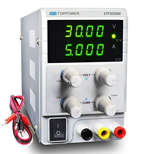 SKYTOPPOWER Fuente de alimentación Regulable DC 0-30V 0-5A 4 LED Precisión Ajustable Transformador, para Laboratorio, reparación General EU Plug
