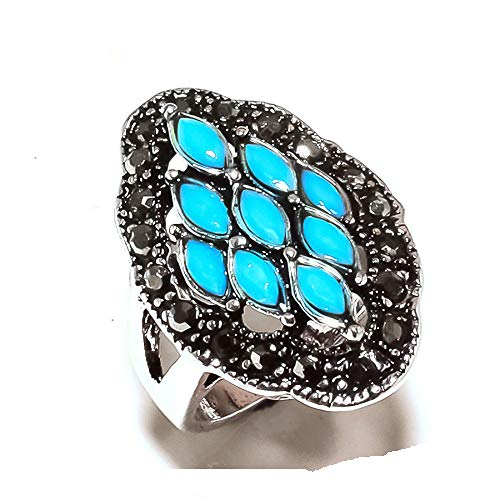Shivi MARKA Design! Ring Size 8 US, Simulated, Blue Chalcedony! Sterling Silver Plated, Handmade! Jewelry from