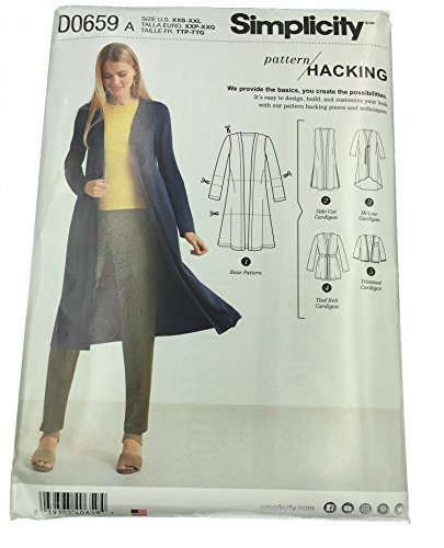 Simplicity Pattern 8377 // D0659 Misses' Knit Cardigan with Variations and Multiple Pieces for Design Hacking Size XXS - XXL